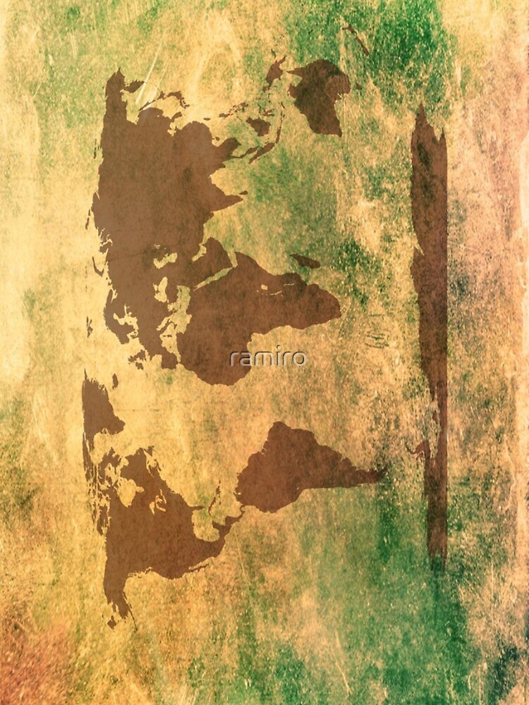 World map in brown on a scratched greenbrownish background world map in brown on a scratched greenbrownish background gumiabroncs Choice Image