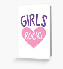 Girls rock! in a cute little love heart Greeting Card