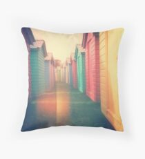 Beach Huts 02D - Retro Throw Pillow