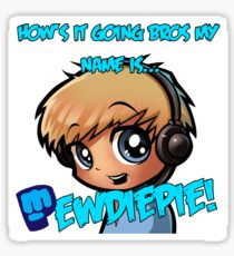 PewDiePie Cartoon With Slogan Sticker