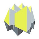 Abstract gray and yellow 3D shapes on 2-point perspective by cesarpadilla