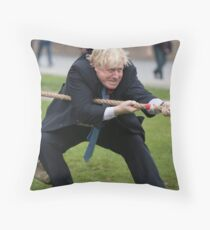 Boris Johnson grits his teeth during tug of war Throw Pillow