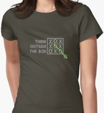 Think Outside the Box (White) Women's Fitted T-Shirt