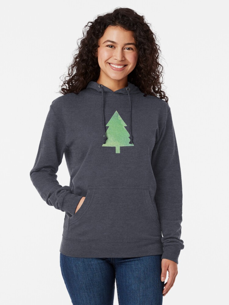 Alternate view of Simple Pine Tree Forest Pattern Lightweight Hoodie