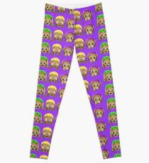 Monkey Emojis Purple Leggings