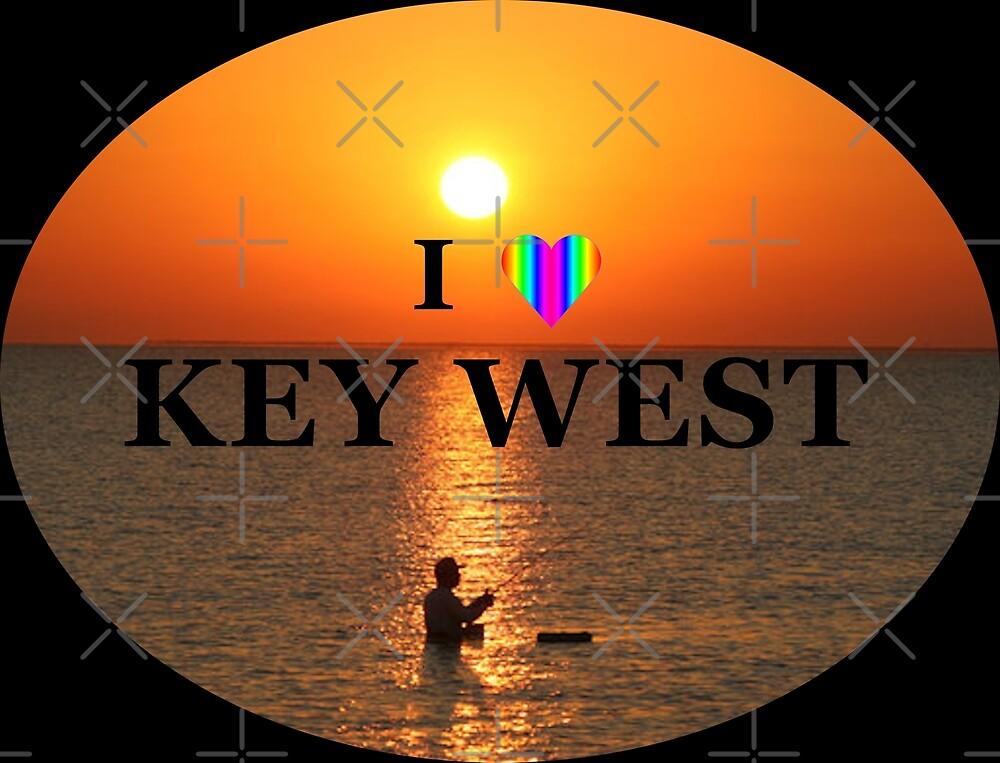 I Love Key West Sunset Rainbow Heart by KeysTreasures