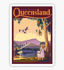 Art Deco Queensland with Queenslander House Sticker