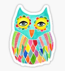 Watercolour Rainbow Owl Sticker