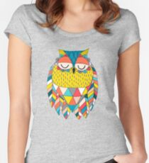 Aztec Owl Illustration Women's Fitted Scoop T-Shirt