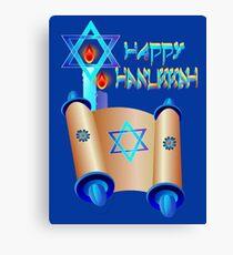 Happy Hanukkah-Torah Canvas Print
