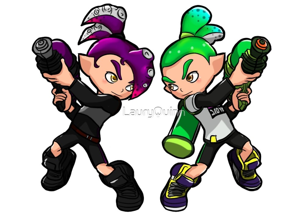 Quot Inking Boy Vs Octoling Boy V2 Quot By Lauryquinn Redbubble