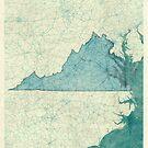 Virginia Map Blue Vintage by HubertRoguski