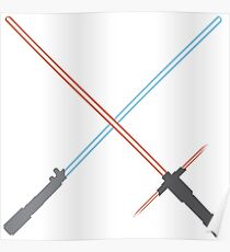 Kylo Ren and Rey Lightsabers Poster