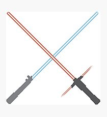 Kylo Ren and Rey Lightsabers Photographic Print