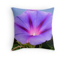 Purple Colored Morning Glory Flower Garden Background  Throw Pillow