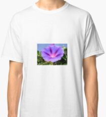 Purple Colored Morning Glory Flower Garden Background  Classic T-Shirt