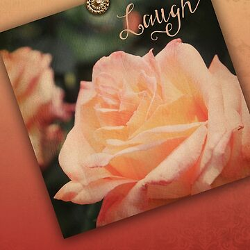 Hybrid Tea Rose Peach Vintage Texture Ornamental Pattern by beverlyclaire