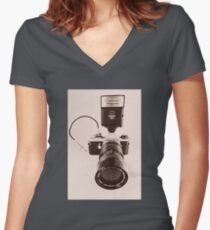 Pentax ME  Women's Fitted V-Neck T-Shirt