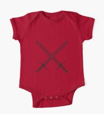 Crossed Sword Tattoo Design - Black on Red One Piece - Short Sleeve