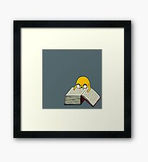 Jake Reading a Giant Book - AdventureTime! Framed Print