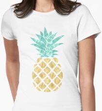 Golden Pineapple Womens Fitted T-Shirt