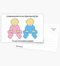 Baby Naming Day Congratulations for twins. Postcards