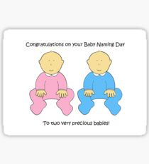 Baby Naming Day Congratulations for twins. Sticker