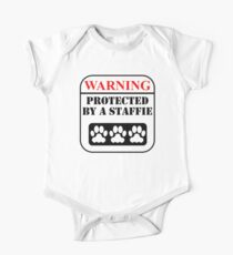 Warning Protected By A Staffie One Piece - Short Sleeve