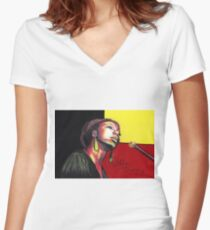 Nina Simone Painting Fitted V-Neck T-Shirt