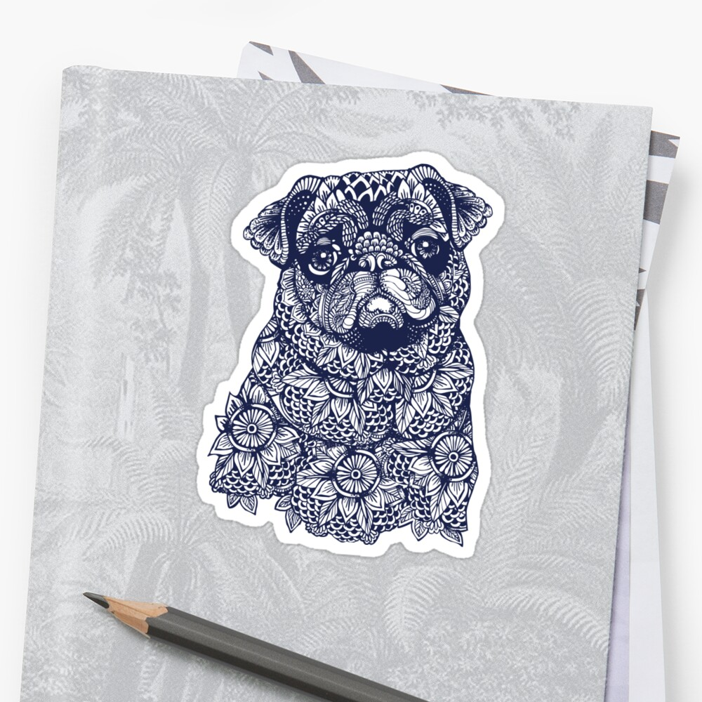 Quot Mandala Of Pug Quot Sticker By Huebucket Redbubble