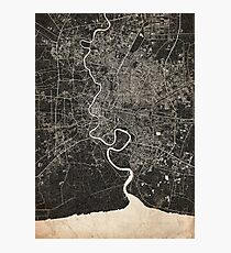 Bangkok map ink lines 2 Photographic Print