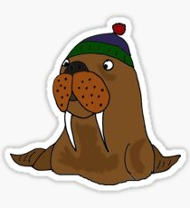 Cool Funny Walrus in Knitted Cap Sticker