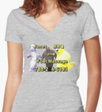 Jones BBQ and Foot Massage Women's Fitted V-Neck T-Shirt