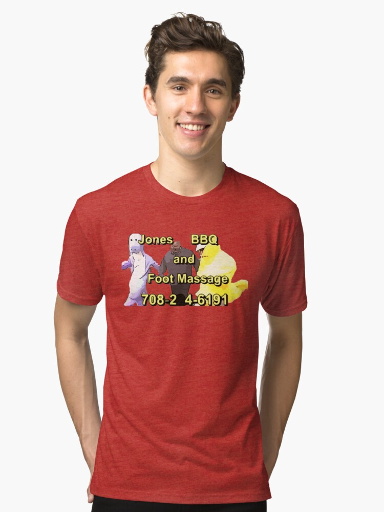 jones bbq and foot massage tri blend t shirt by jacobey546 redbubble