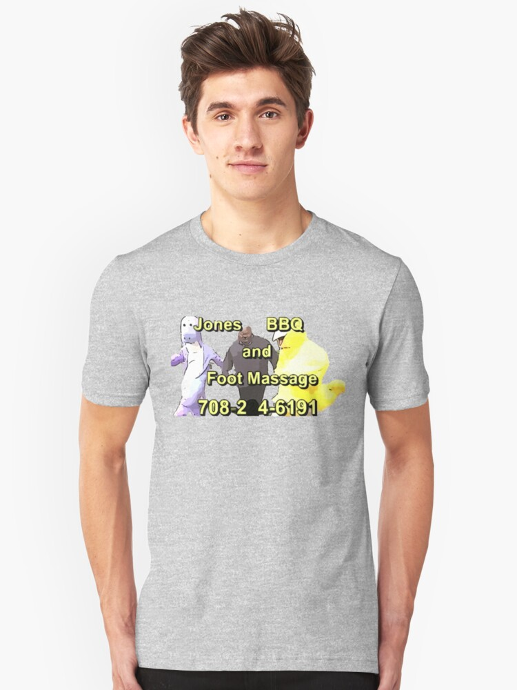 jones bbq and foot massage unisex t shirt by jacobey546 redbubble