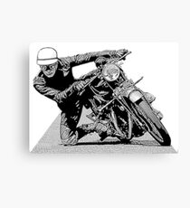 1940s Vintage Motorcycle Racer Graphic Canvas Print