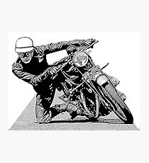1940s Vintage Motorcycle Racer Graphic Photographic Print