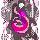 Hidden Passion Woman Pink Hair Abstract Geometric Portrait by Beverly Claire Kaiya