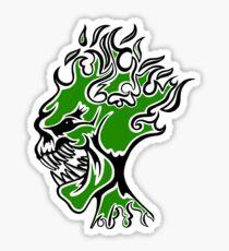Flaming Head Green  Sticker