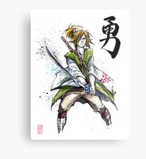Link from Zelda Sumie style calligraphy COURAGE Metal Print