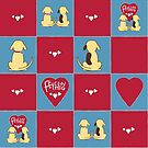 Fetching dog couple pattern by fatdogcreatives