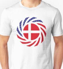 Danish American Multinational Patriot Flag Series Slim Fit T-Shirt