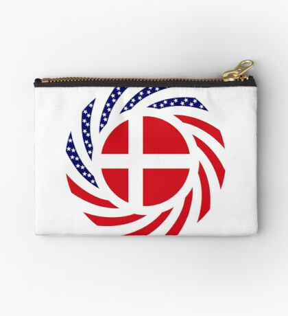 Danish American Multinational Patriot Flag Series Zipper Pouch
