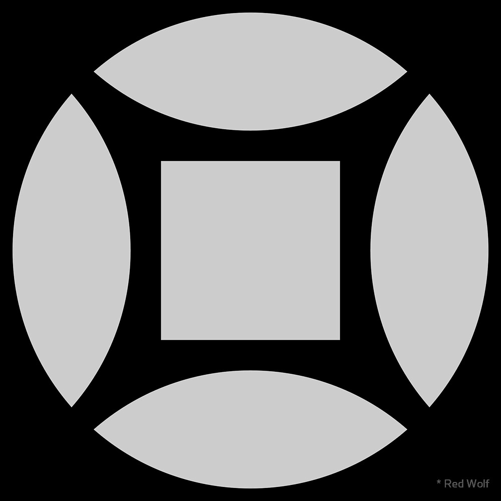 Geometric Pattern: Intersect Square: Black/Ash by * Red Wolf