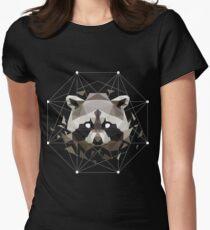 Geometric Raccoon Womens Fitted T-Shirt
