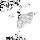 Rhythm Ballerina Zen Art Coloring Page by Franchesca Cox
