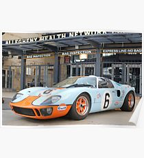 Ford Gt  Racecar Gulf Oil Vintage Auto Poster