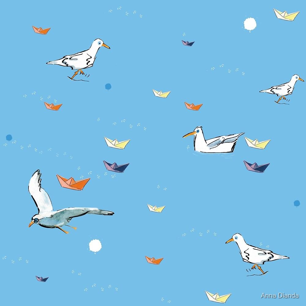Holiday at the sea. Gulls and paper boats. by Anna Dianda