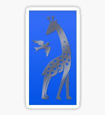 Giraffe and bird - perforated sheet design Sticker