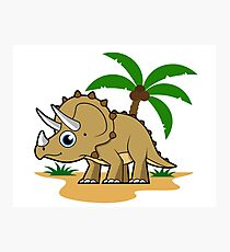 Cute illustration of a Triceratops in a tropical climate. Photographic Print